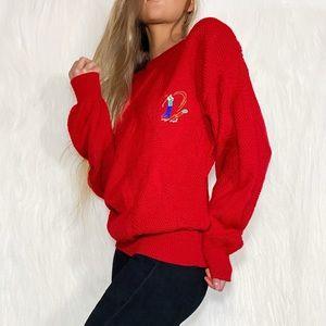 Cherry Red Vintage Golf Sweater